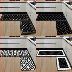 2 Pcs/Set Bedroom Kitchen Floor Mat Non Slip Runner Anti Fat