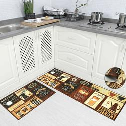 Carvapet 2Pcs Non-Slip Kitchen Mat TP-Rubber Backing Carpet