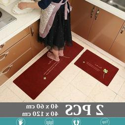 2pcs/set Modern Non-slip Waterproof Floor Rug Kitchen Toilet