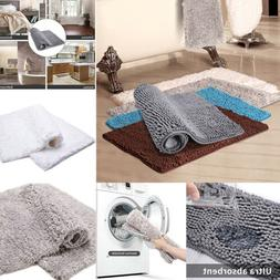 2x Floor Door Bath Mat Rug Non-Slip Absorbent Shaggy Bathroo