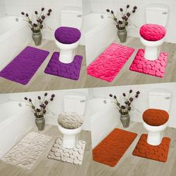 3PC SET SOFT BATHROOM BATH RUG CONTOUR MAT TOILET LID COVER
