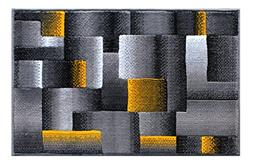 Masada Rugs, Modern Contemporary Mat Area Rug, Yellow Grey B