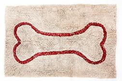 Soggy Doggy Doormat, Beige with Red Bone 36-Inch by 60-Inch,