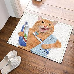 NYMB A Cat with Toothpaste on Toothbrush Bath Rugs Non-Slip