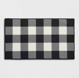 Accent Rug Farmhouse Black White 20x34 Buffalo Check Plaid M