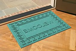 Bungalow Flooring Aqua Shield Greek Key Welcome Doormat