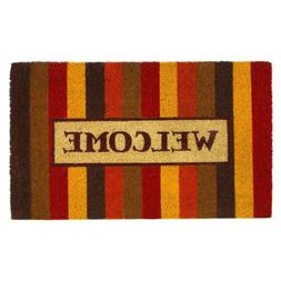 Autumn Colors Striped Coir Welcome Door Mat Thanksgiving Dec