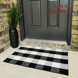 black and white buffalo plaid check door