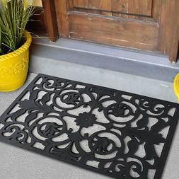 Black Door Mat Indoor Outdoor Mat Rug Rubber Utility Muds Di