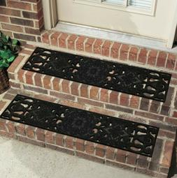 black rubber outdoor stair tread door mat