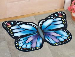 Blue Butterfly Shaped Rubber Welcome Outdoor Porch Rug Front