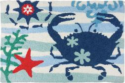 Blue Crab and Red Starfish 33 X 21 Inch Area Accent Washable