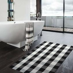 "Buffalo Check Rug 27"" x 43"", Black and White Plaid Kitchen"