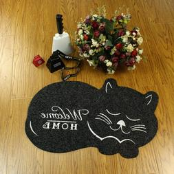 Cat Shaped Black Brown Welcome Home Door Mat Floor Rug Home