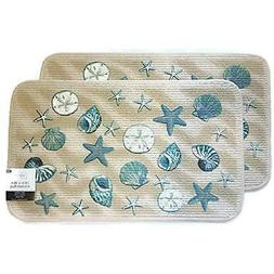Mainstay Coastal Starfish Seashell Kitchen Rug, Door Mat, Se