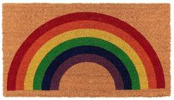 Colorful Rainbow Welcome Outdoor Coir Fiber Porch Rug Front