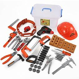 52 Pcs Construction Kit Hard Hat With Pretend Play Tools And