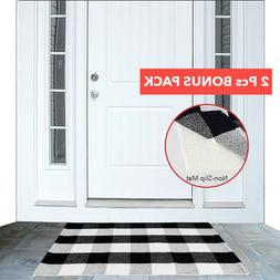 Cotton Buffalo Plaid Area Rug Checkered Woven Door Mat with