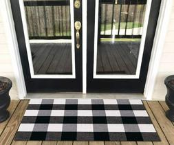 Cotton Buffalo Plaid Kitchen Rug Black and White Checkered R