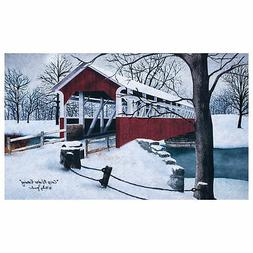 Covered Red Bridge 18 x 30 Polyester Decorative Floor Door M