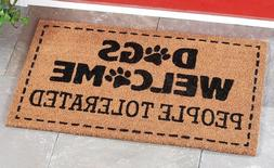Dogs Welcome People Tolerated Paw Print Outdoor Coir Porch R