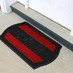 Door Mat Welcome Mat  PVC Non-Slip Entrance Rug Black w/ Red