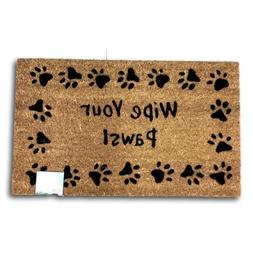 Door Mat Welcome Rug Wipe Your Paws Coir with PVC Back Black