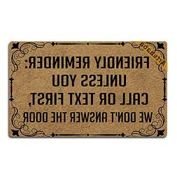 Artsbaba Doormat Friendly Reminder Unless You Call Or Text F