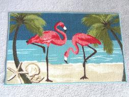 Flamingo and Palm Tree Mat or Rug--Beach Motif--NWT