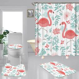 Flamingo Doormat Door Bath Mat Toilet Cover Rugs Shower Curt