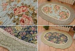 French Country Shabby Chic Cottage Floral Quilted Floor Door