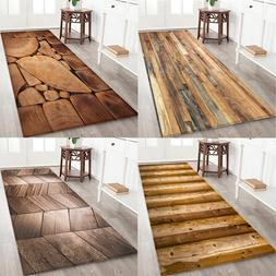 Geometric Wood Grain Printed Floor <font><b>Mat</b></font> D