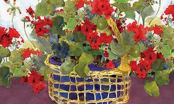Toland Home Garden Geranium Basket 18 x 30-Inch Decorative U