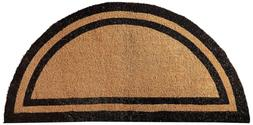 "Kempf Half Round Black Borderer Coco Mat in Two Sizes 36"" X"
