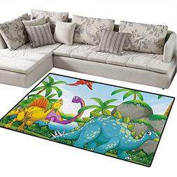 Jurassic Bath Mats Carpet Dinosaurs Living in The Jungle Ill