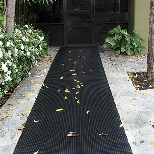 """Rubber-Cal Corrugated Rubber Mats, 48"""" Wide, 8'"""