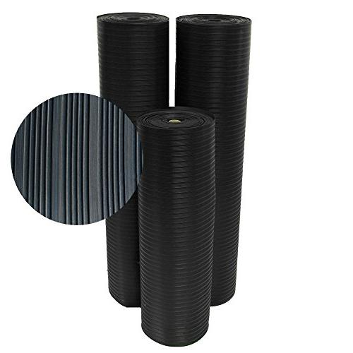 "Rubber-Cal Composite Corrugated Rubber Floor 48"" Wide, 8'"