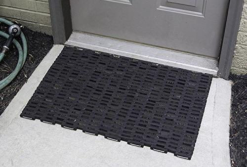 Durable Durite Recycled Outdoor Entrance Mat, Weave, Black