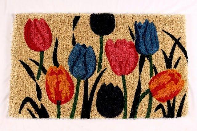 KEMPF 1701 18 in. x 30 in. Multi Tulip Coco Mat - Natural