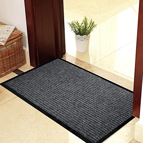 """2-Pack Mats for Entryway, 17"""" x All Door for Traffic Grey Black Mats Shoe Scraper, Mat with Rubber"""