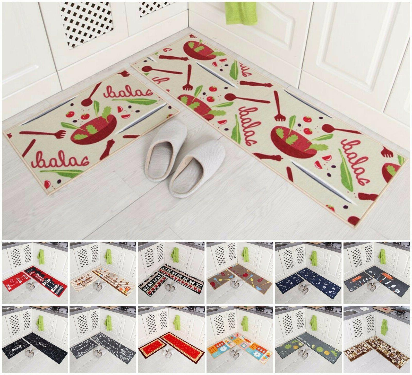 2-Piece Kitchen Mat Set Doormat Runner Rug Anti-Slip Carpet