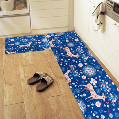 2Pcs Kitchen Floor Mat Anti-Slip Rug Door Absorbent