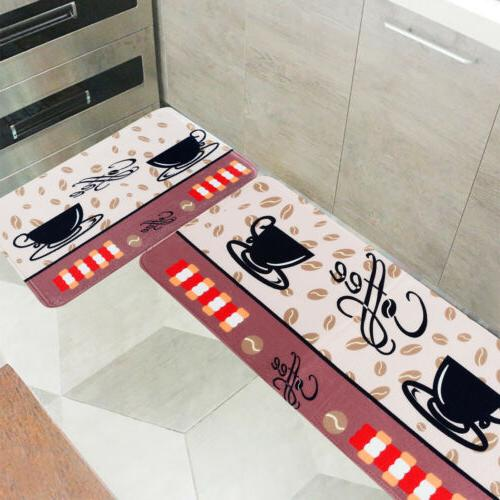 2PC Kitchen Floor Carpet Non-Slip Area Rug Bathroom Door Mat