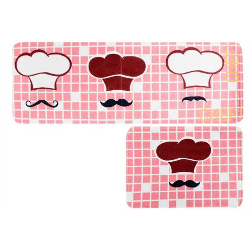 2Pcs Kitchen Floor Mat Anti-Slip Area Rug