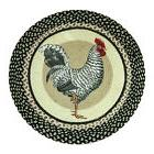 """Black and White Rooster 27"""" Round Braided Jute Rug 66-430R"""