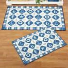 Blue White Nautical Seashell Beach House Floor Area Runner R