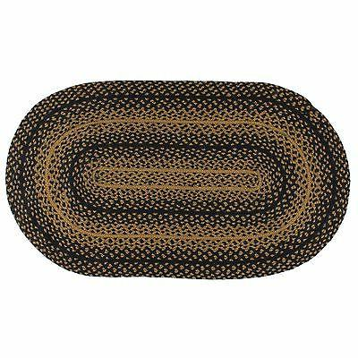 IHF Home Decor Braided Oval Area Rug Jute Ebony Design 20 x