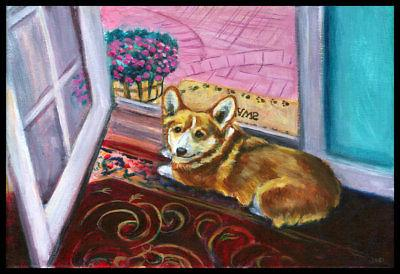 Caroline's Treasures Corgi Watching from the Door Doormat