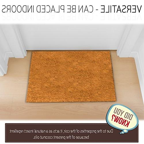 MPLUS Coco Doormat Heavy-Duty Backing Natural - Size: 18-Inches x - Pile - Perfect Outdoor/Indoor