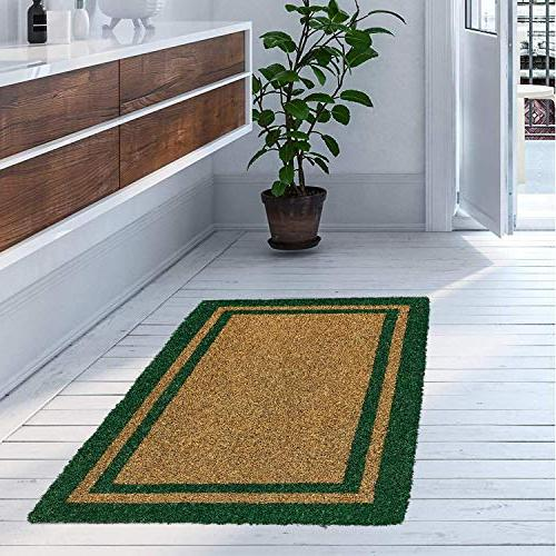 Kempf Coir Outdoor Green Border House/Office Clean With Doormats